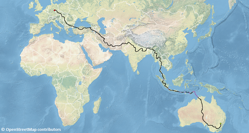 World map with route